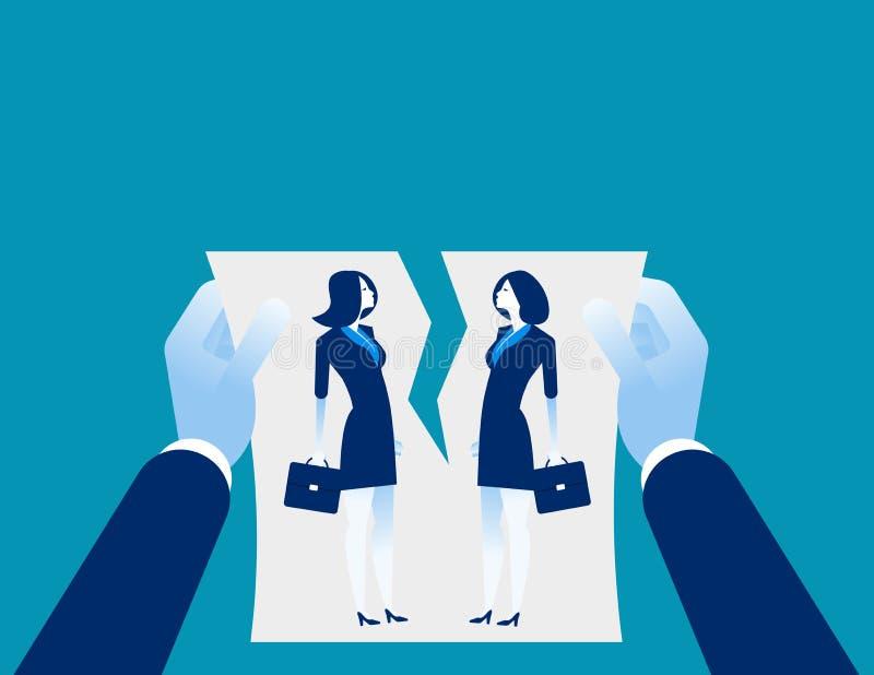 Dificultades de la relación Acuerdo de la cancelación de la mano Vectorillustration del negocio del concepto libre illustration