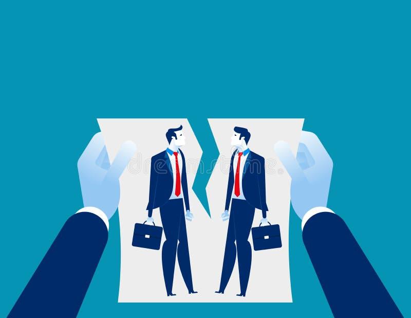 Dificultades de la relación Acuerdo de la cancelación de la mano Vectorillustration del negocio del concepto stock de ilustración