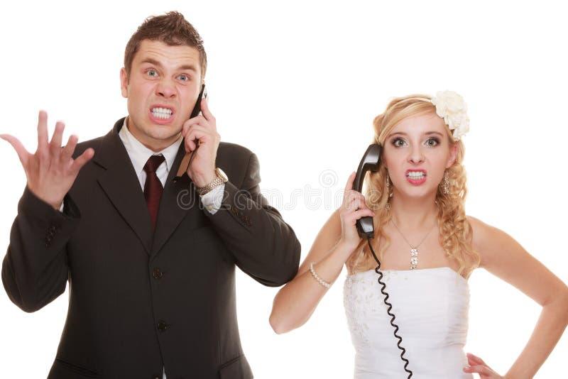 Dificultades de la relación de los pares de la boda foto de archivo libre de regalías