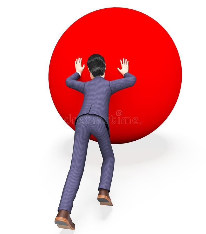 Dificultades de Pushing Ball Means del hombre de negocios y negocios stock de ilustración