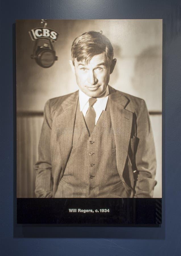 Difusión de la fotografía de Rogers en CBS, Claremore, Oklahoma foto de archivo libre de regalías
