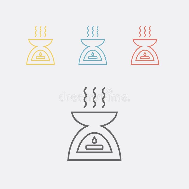 Difusor, linha ícone da terapia do aroma Ilustração do vetor ilustração stock