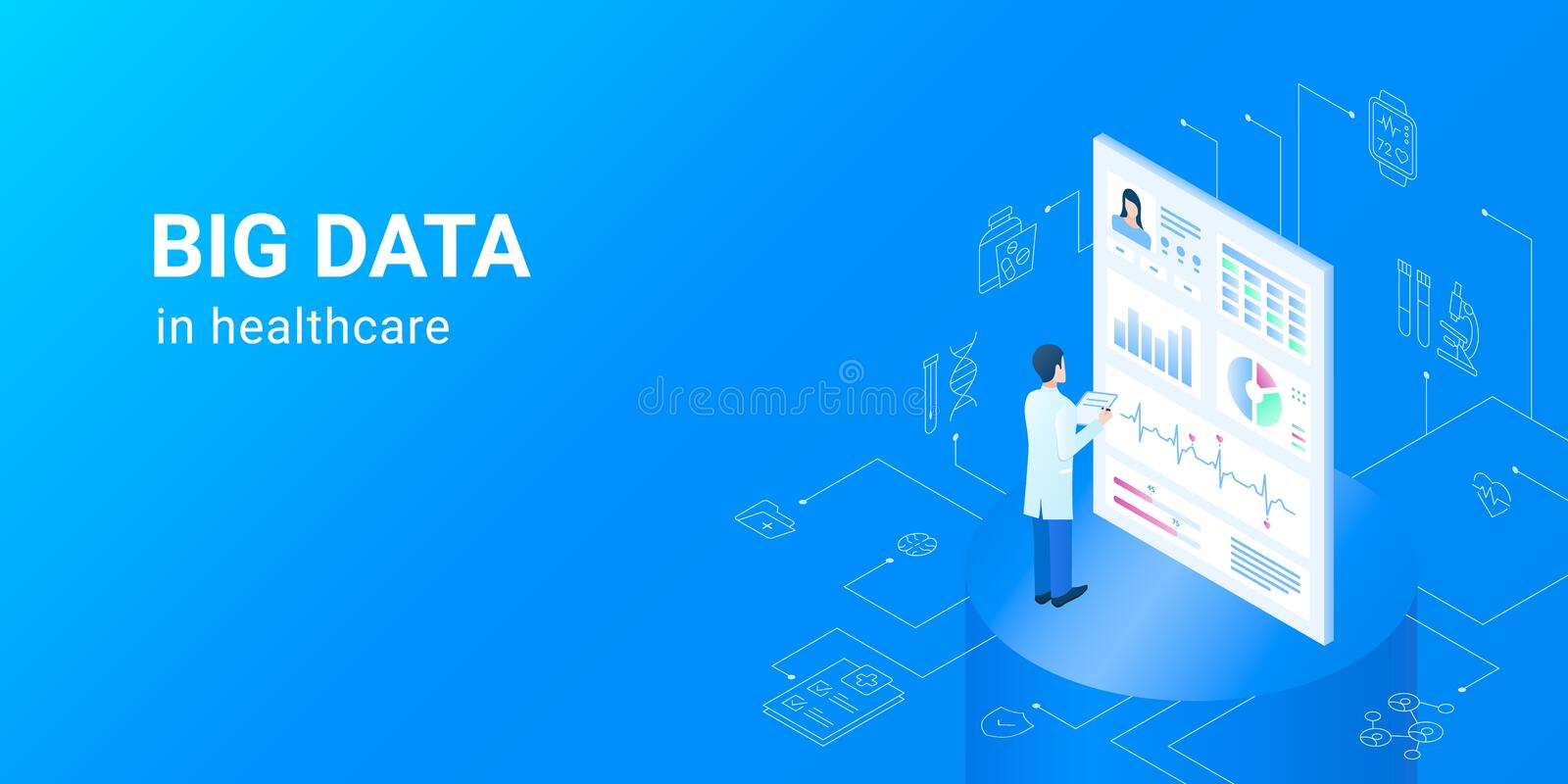 Dig data in healthcare - electronic health data sets. stock illustration