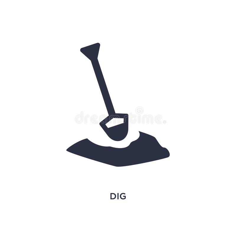 Dig icon on white background. Simple element illustration from gardening concept. Dig icon. Simple element illustration from gardening concept. dig editable royalty free illustration