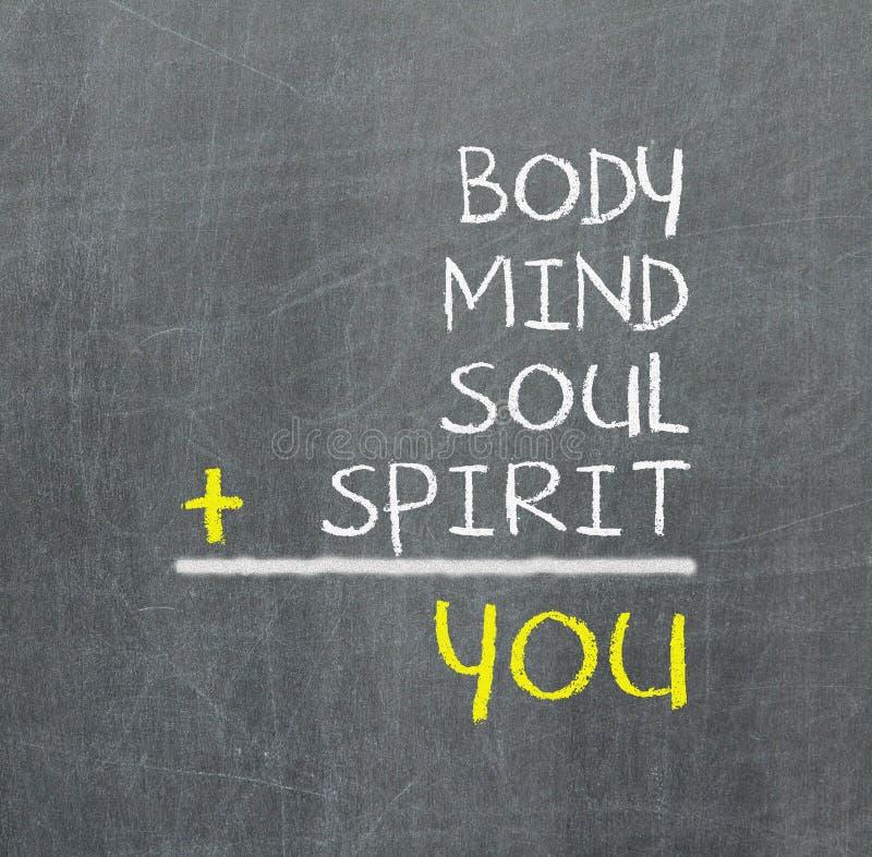 Dig kropp, mening, anda, ande - en enkel meningsöversikt stock illustrationer