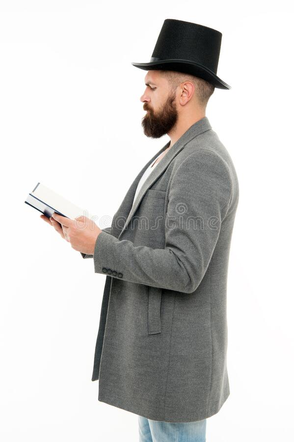 Dig into reading. Bearded man read book isolated on white. Poetry reading. Home reading and schooling. Bibliophile in. Top hat. School and education. Reading stock photo