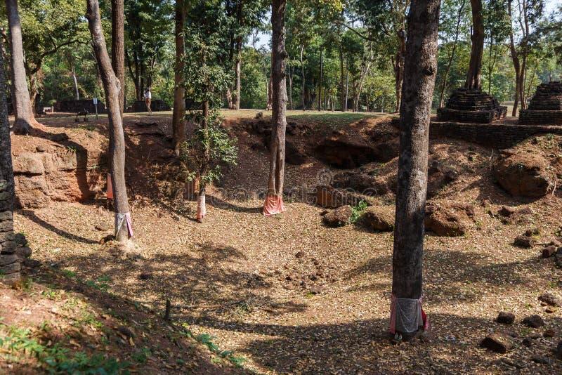 Dig Site Marked Trees vicino alla provincia di Wat Pra Khaeo Kamphaeng Phet, Tailandia immagine stock