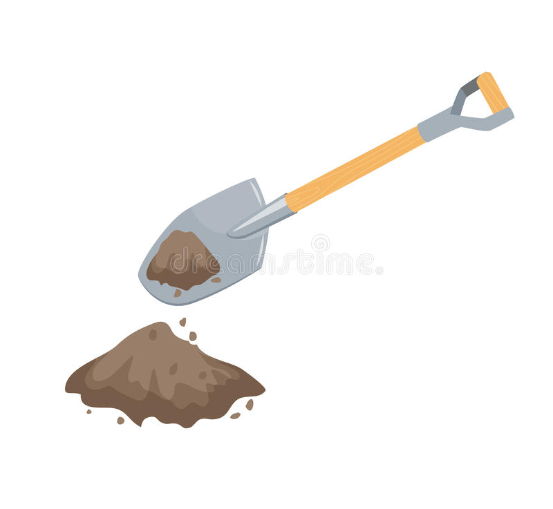 Dig with a spade. Garden or repair tool. Farm instruments. Hand work process vector illustration isolated on white royalty free illustration