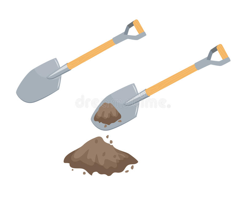 Dig with a spade. Garden or repair tool. Farm instruments. Hand work process vector illustration isolated on white vector illustration