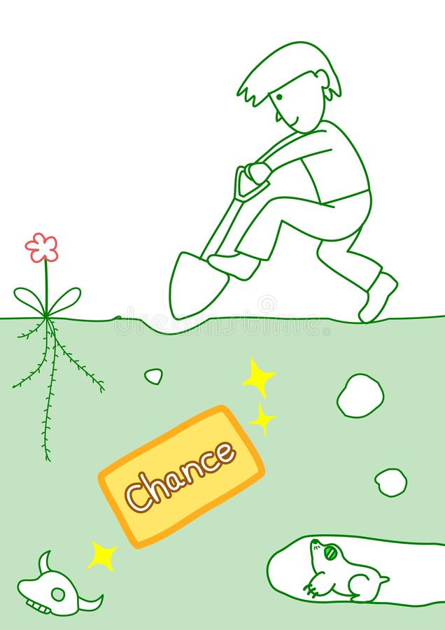 Dig up the chance. Man digging a chance under ground royalty free illustration