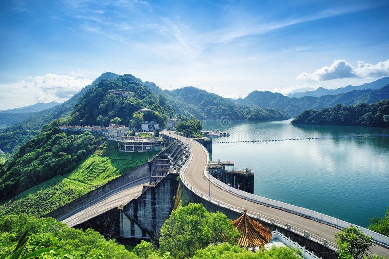 Diga di Shihmen a Fuxing o il distretto di Daxi, Taoyuan, Taiwan fotografie stock libere da diritti