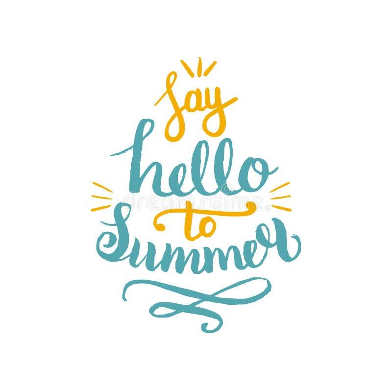 Diga hola al ejemplo del vector del verano, fondo Logotipo del diseño del inconformista de la cita de la diversión Mano que pone  ilustración del vector