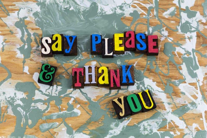 Diga le agradecen por favor las gracias fotos de archivo libres de regalías