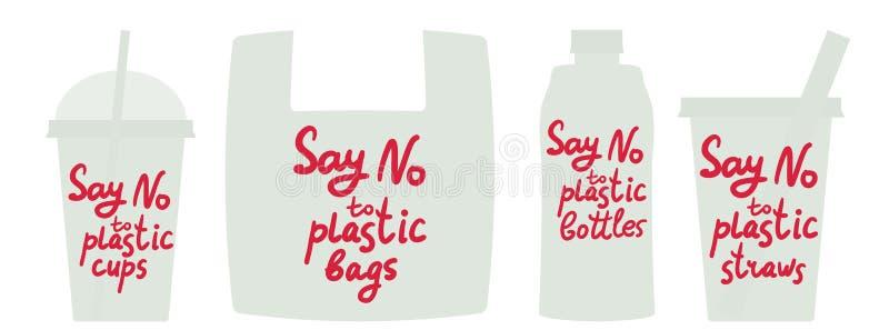 Diga não às palhas plásticas das garrafas dos sacos dos copos Texto vermelho, caligrafia, rotulação, garatuja isolada à mão no br ilustração do vetor