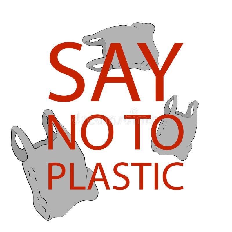 Diga não ao cartaz dos sacos de plástico ilustração royalty free