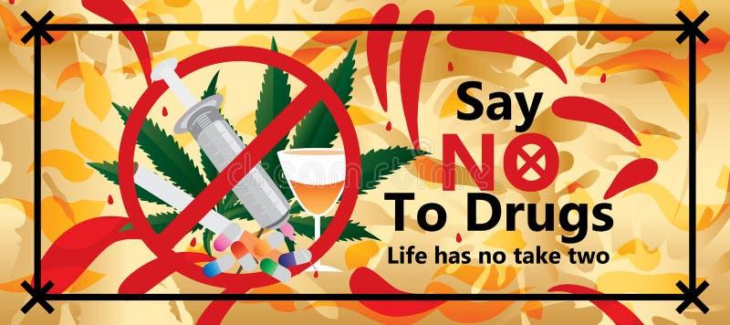 Diga não ao efeito da bandeira das drogas ilustração royalty free