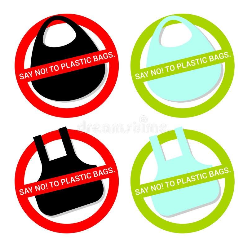 Diga NÃO aos sacos de plástico ilustração royalty free