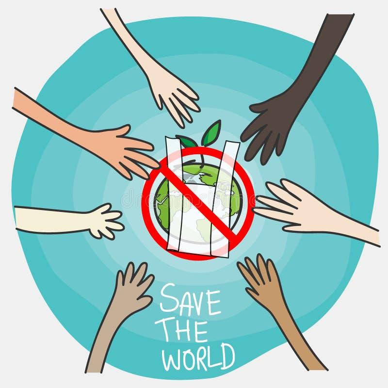 Diga não aos sacos de plástico conceito, estilo dos desenhos animados cooperação dos povos em nacionalidades diferentes com o sig ilustração royalty free