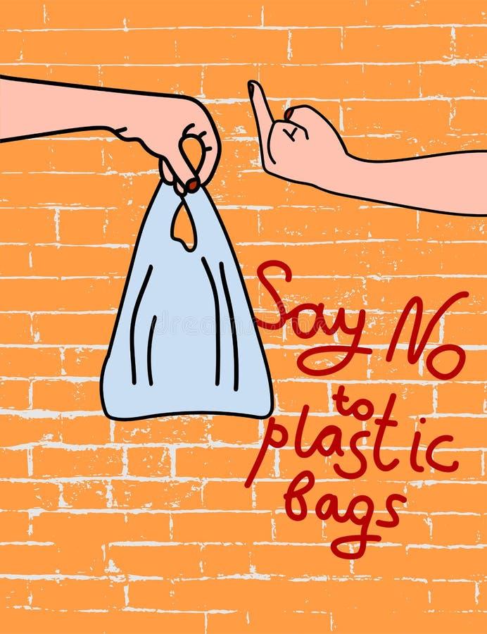 Diga não aos sacos de plástico no cartaz do fundo do tijolo ilustração do vetor