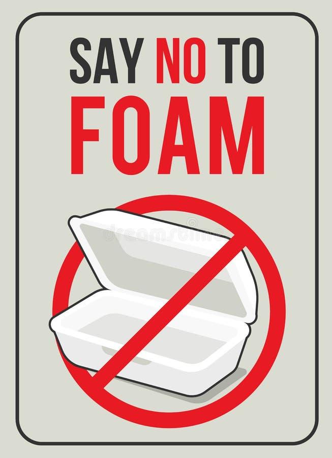 Diga não espumar conceito com a caixa do alimento da espuma no projeto vermelho do vetor do sinal do círculo da parada ilustração royalty free