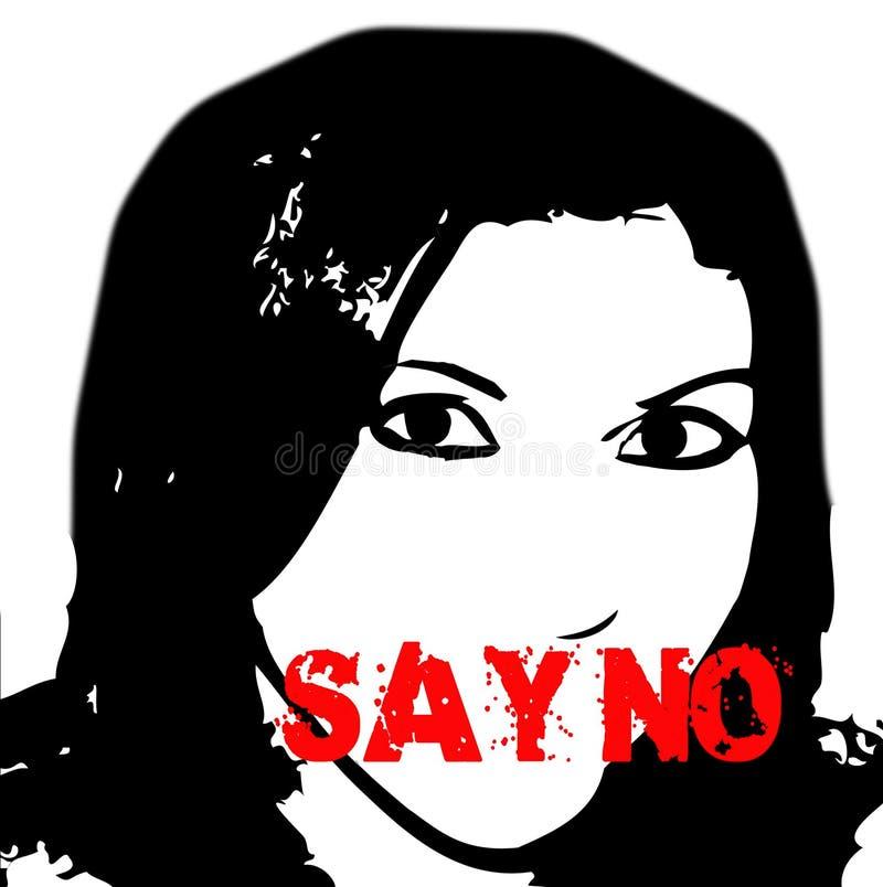 Diga não a violência da parada contra mulheres ilustração royalty free