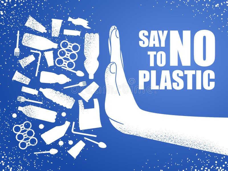 Diga no al plástico Contaminación plástica del problema Cartel ecológico Bandera integrada por el bolso, la botella y la mano inú libre illustration
