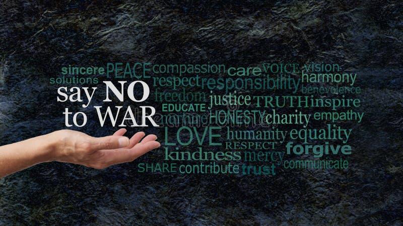 Diga NO a la bandera de la campaña de la nube de la palabra de la GUERRA imagenes de archivo