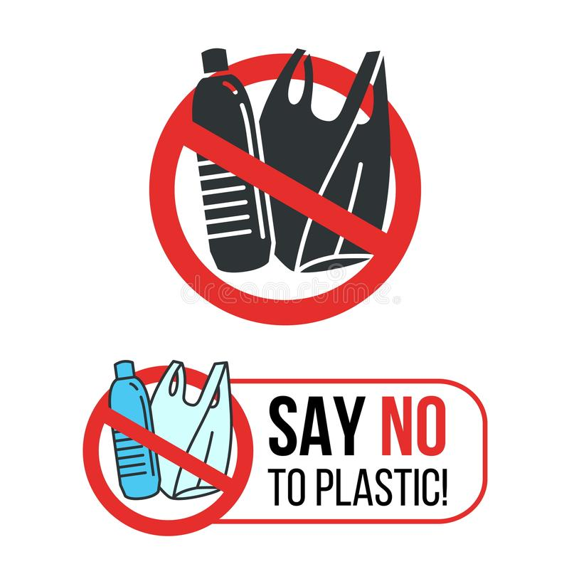 Diga no a la muestra plástica con la botella de agua y la bolsa de plástico plásticas en diseño rojo del vector del círculo de la stock de ilustración