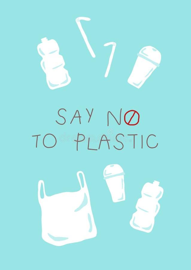 Diga no a la taza plástica de la botella plástica de la bolsa de plástico y a la paja plástica stock de ilustración