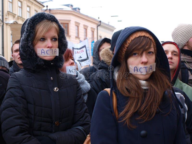 Diga o No. à ACTA, Lublin, Poland fotos de stock royalty free