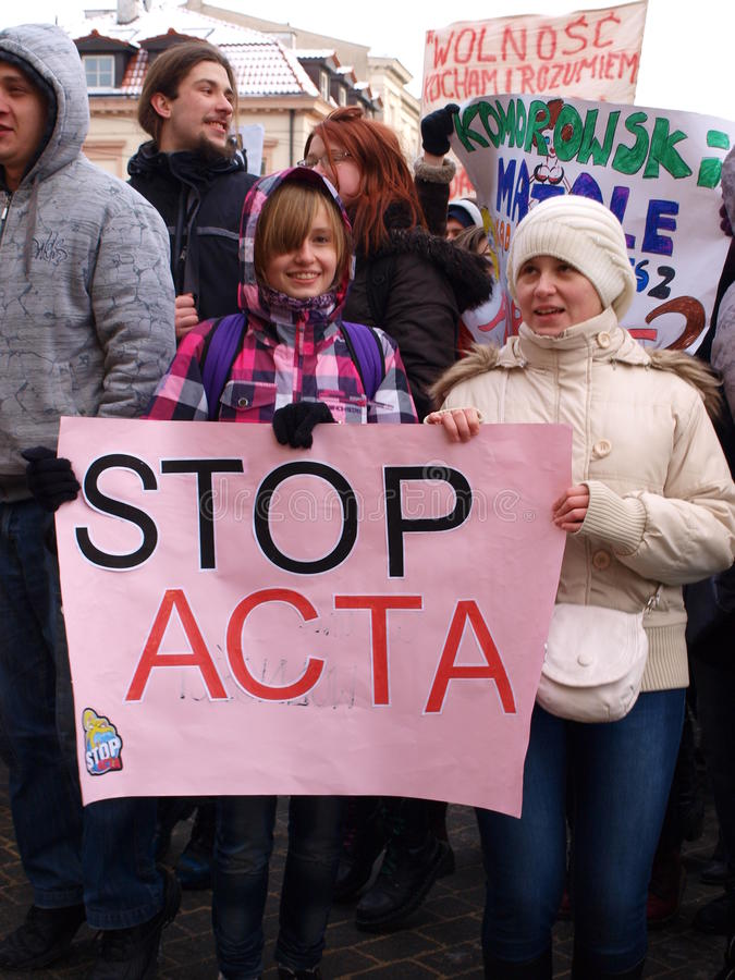 Diga o No. à ACTA, Lublin, Poland fotos de stock