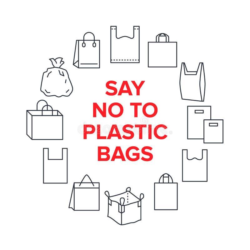 Diga que não aos sacos de plástico circunde o molde com a linha lisa ícones Ilustração do vetor da conscientização da poluição do ilustração stock