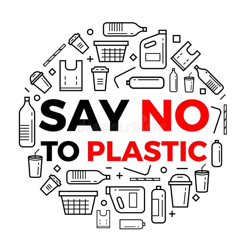 Diga que no a la línea iconos del texto del plastice y del paquete del plastice firma alrededor de diseño del vector del círculo stock de ilustración