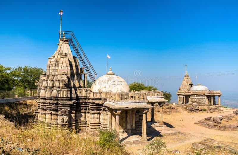 Digambar Jain Mandir, een tempel op Pavagadh-Heuvel - Gujarat, India stock foto