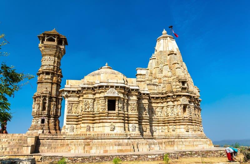 Digambara Jain tempel på det Chittorgarh fortet UNESCOvärldsarv i Rajastan, Indien royaltyfri bild