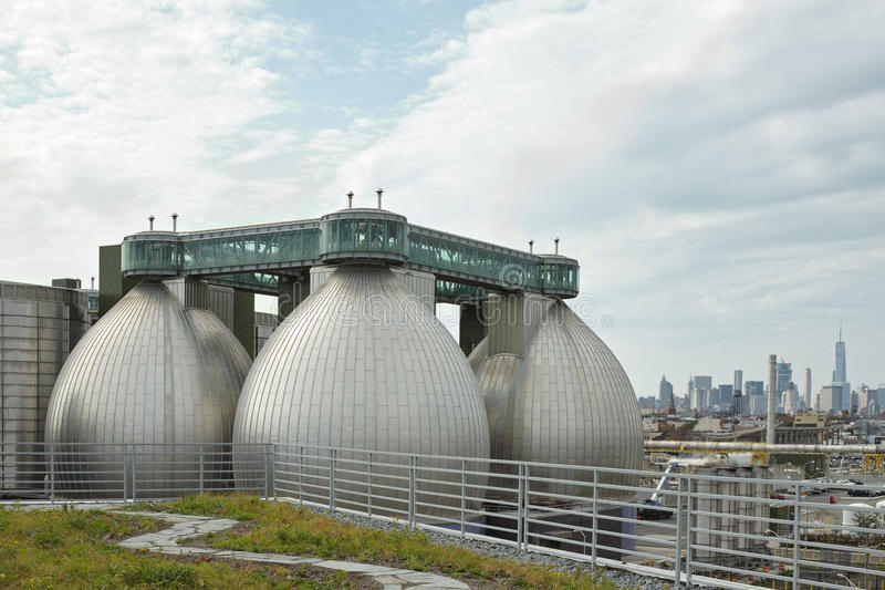 Digester eggs of the Newtown Creek Wastewater Treatment Plant stock images