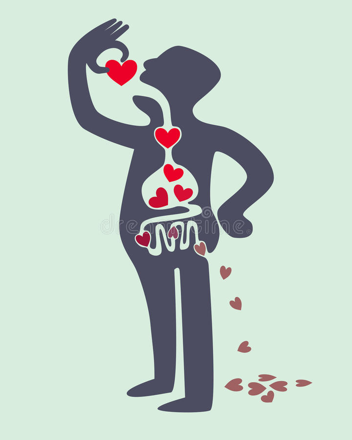 Digestión del amor stock de ilustración