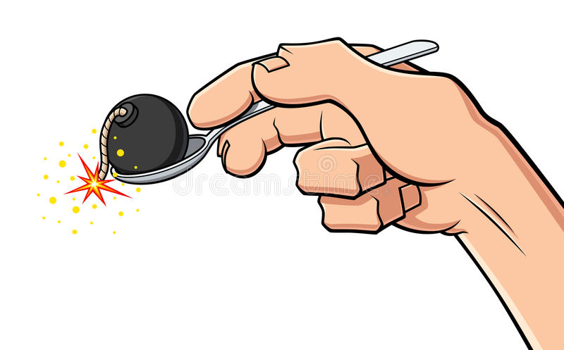 Digestion problems. Conceptual illustration about digestion problems. A hand holds a spoon with a bomb, symbol of gastritis and stomach ache. Available in vector royalty free illustration