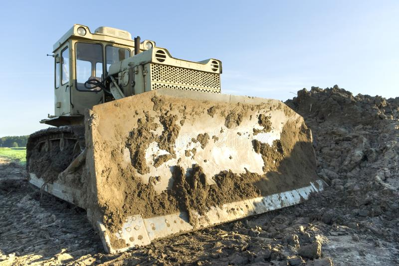 Digger. Heavy Duty construction equipment parked at work site stock photo