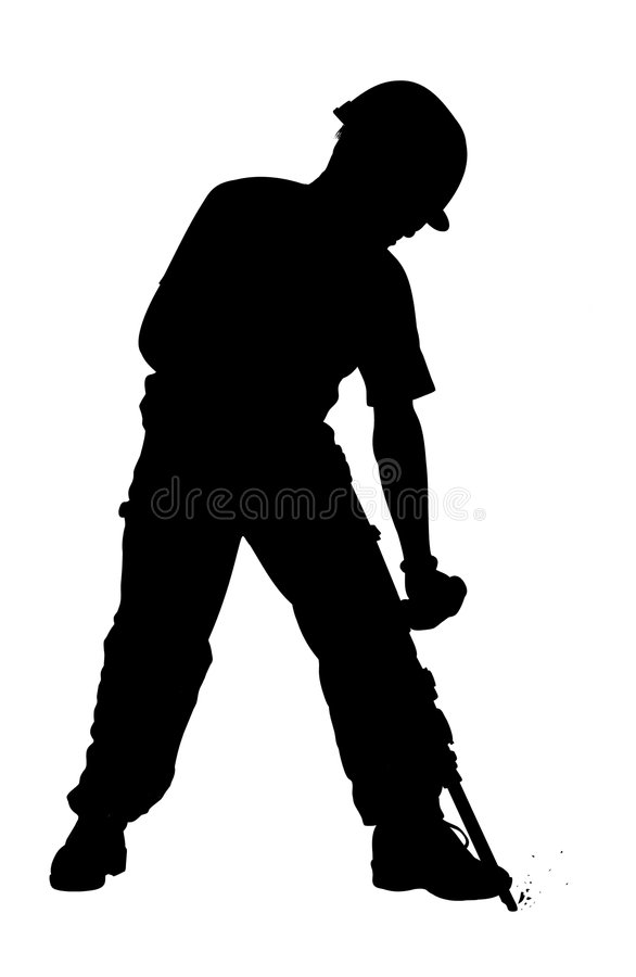 Digger. Illustrated man breaking up the floor with a machine royalty free illustration