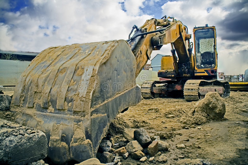 Download Digger stock image. Image of working, cloudy, work, blue - 4720795