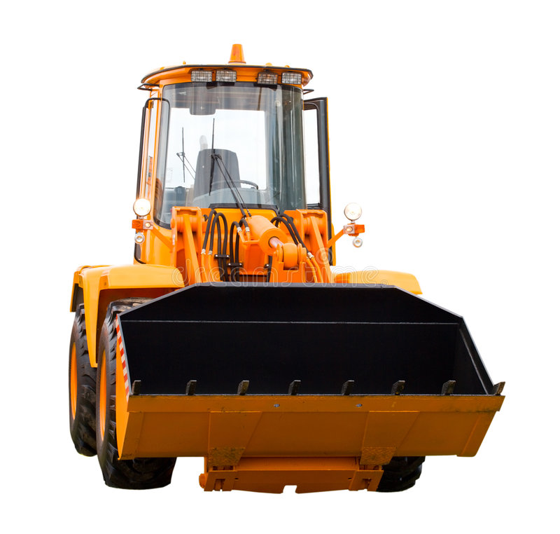 Digger. New yellow digger, isolated on white royalty free stock images