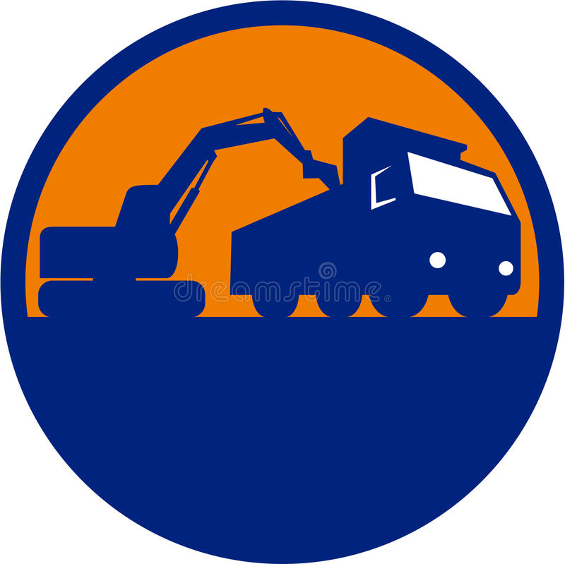 Digger Loading Dump Truck Circle mécanique rétro illustration libre de droits