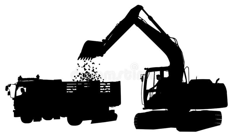 Digger and truck silhouette royalty free illustration