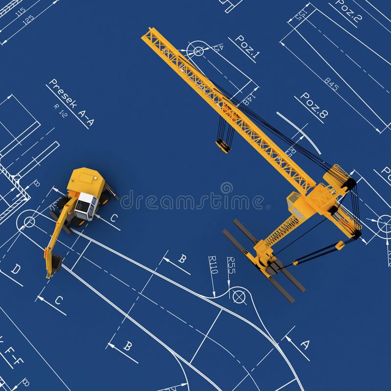 Free Diggers And Yellow Crane With Sketch Stock Photos - 11826543