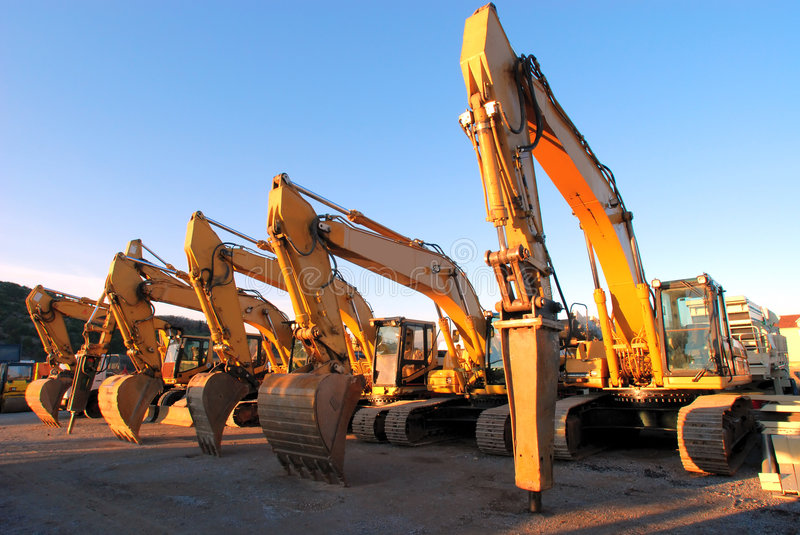 Diggers01. Six architecture machinery in line