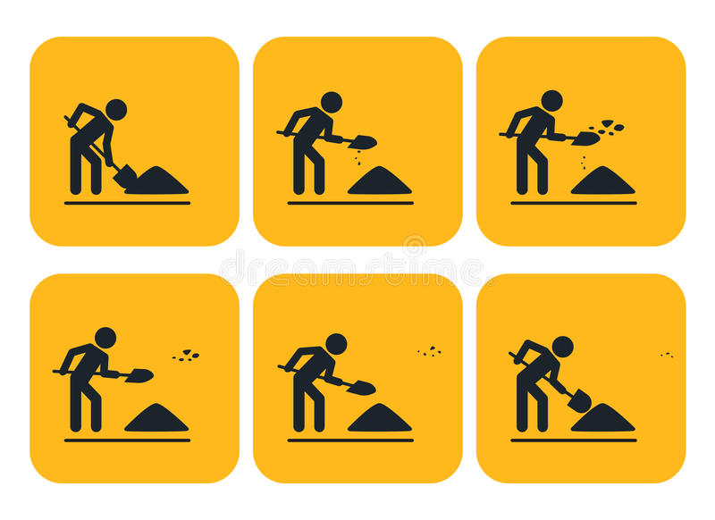 Digging man. Animation throwing the ground ahead. Digging man. Vector illustration of animation throwing the ground ahead vector illustration
