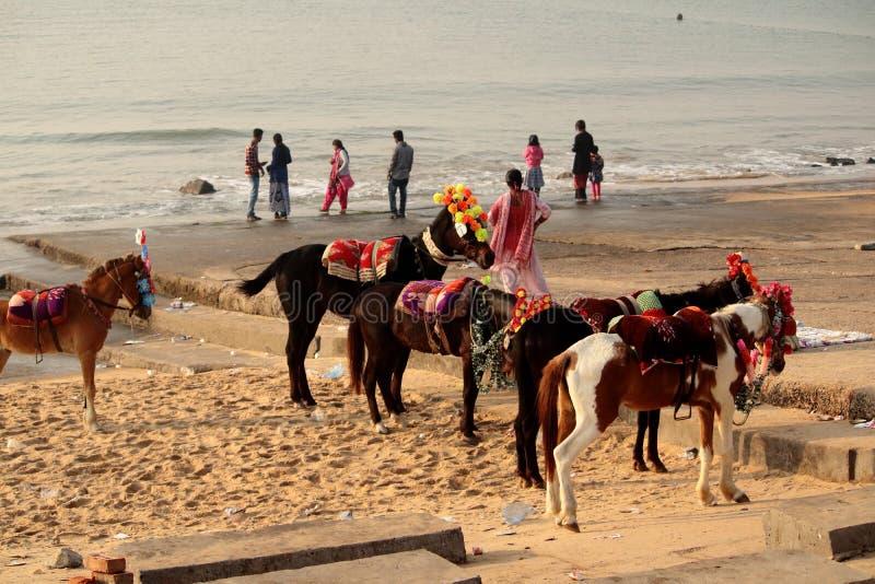 Digha plaża blisko Kolkata w India zdjęcie stock