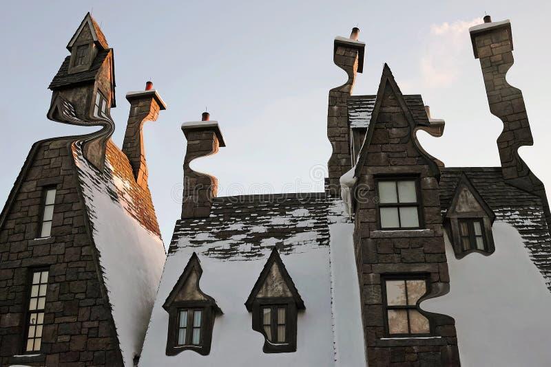 Digiart - husen av Hogsmeade royaltyfri foto