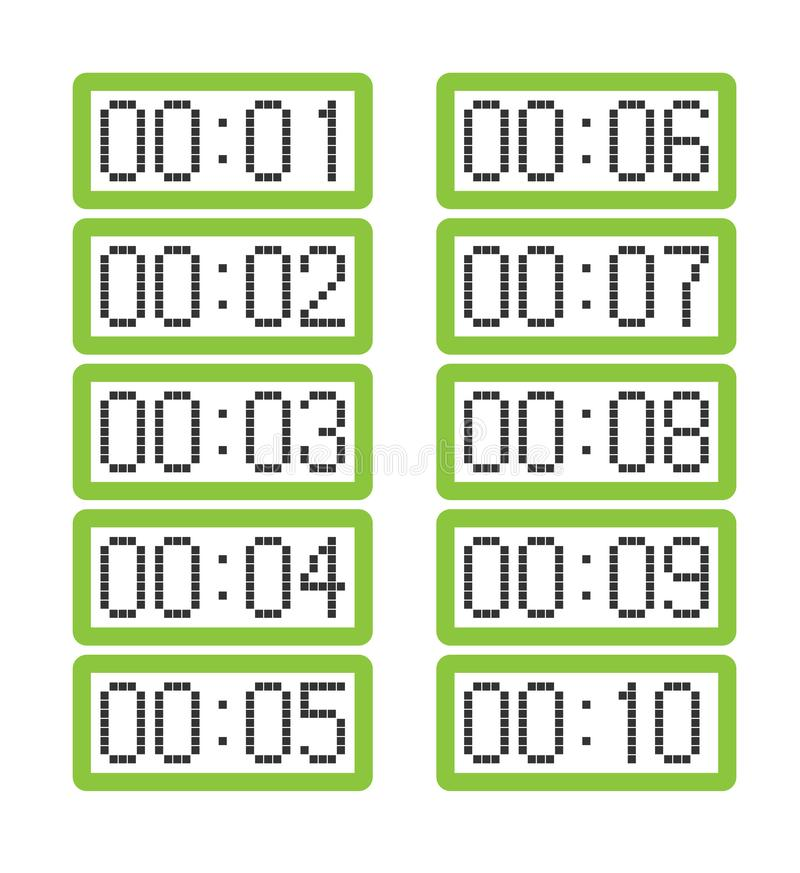 Set of light green digital clocks showing from one minute to ten minutes vector illustration